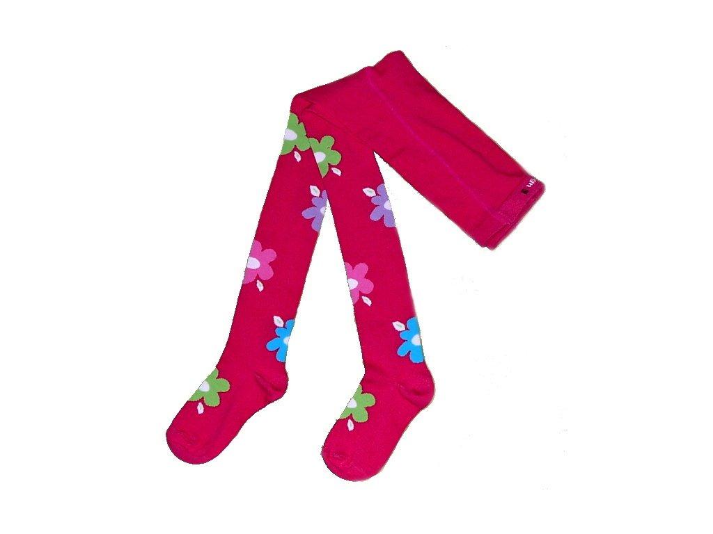 Dívčí punčocháče s kytkama tm. růžové