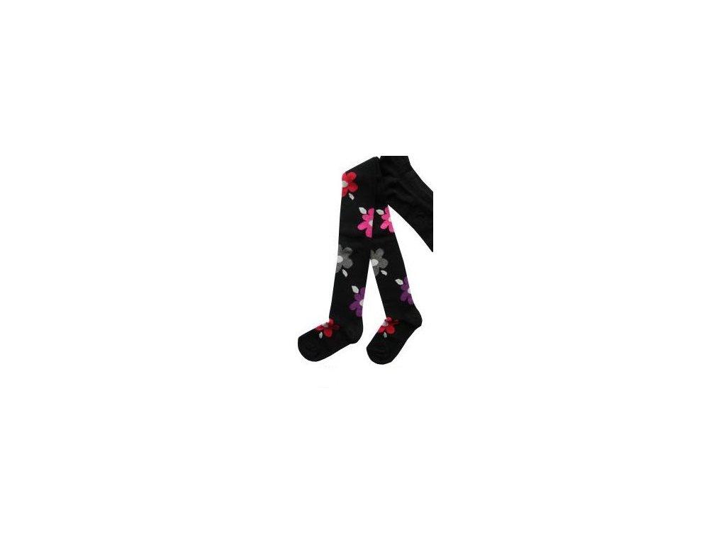 Dětské punčocháče s kytkama černé