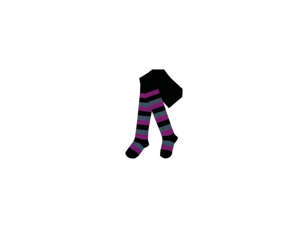 Dětské punčocháče fialový pruh