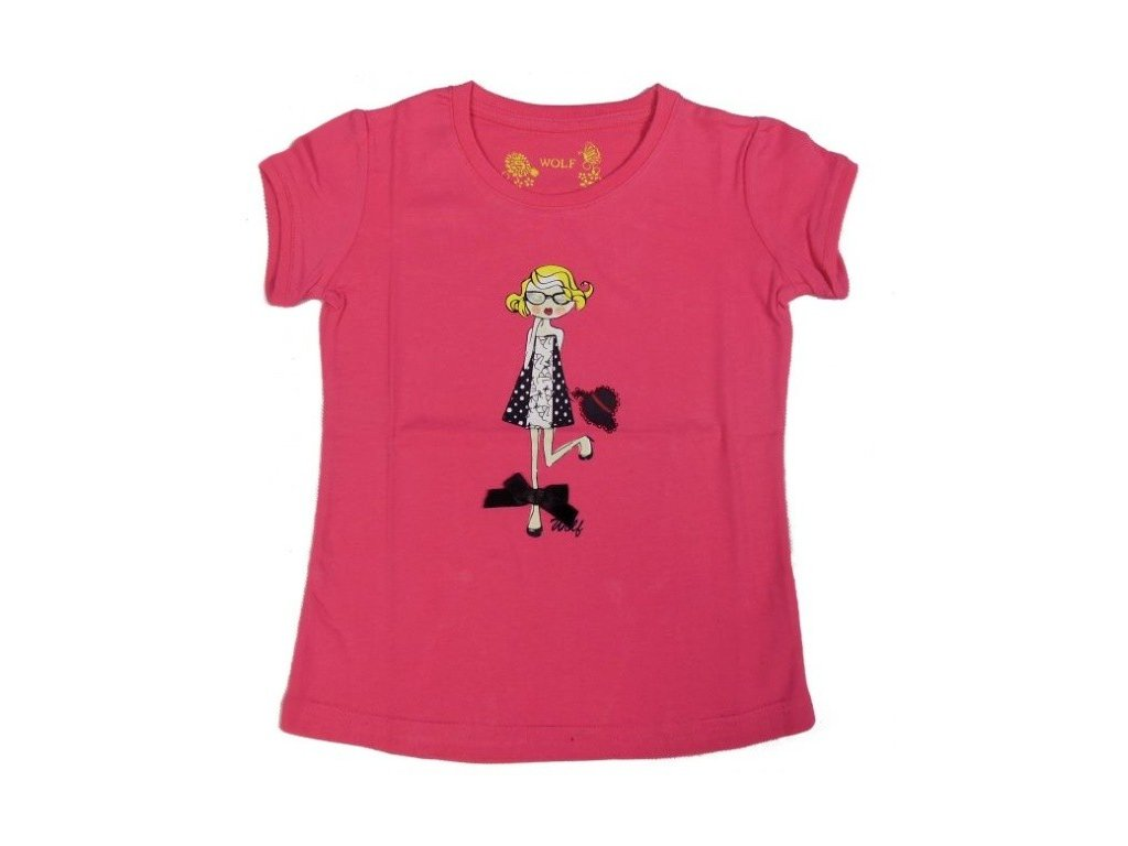 Dívčí růžové triko WOLF S2312 vel. 104