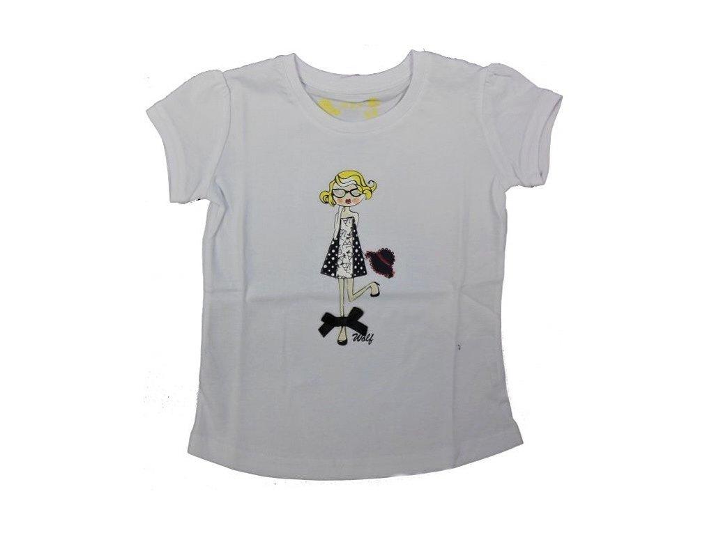Dívčí bílé triko WOLF S2312 vel. 122