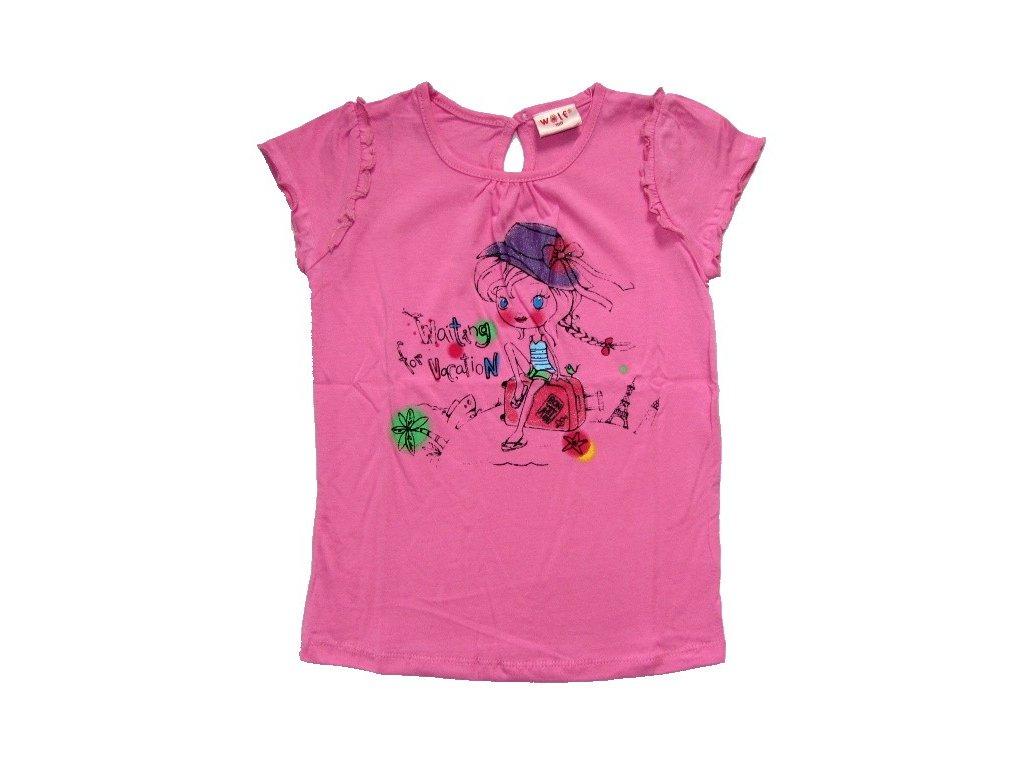Dívčí růžové triko WOLF 80-90-100-110