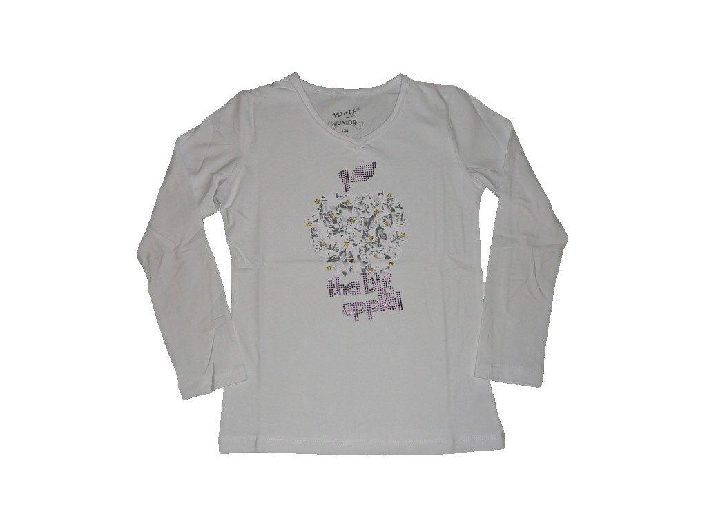 Dívčí bílé triko s dlouhým rukávem S2346 WOLF vel. 152,158