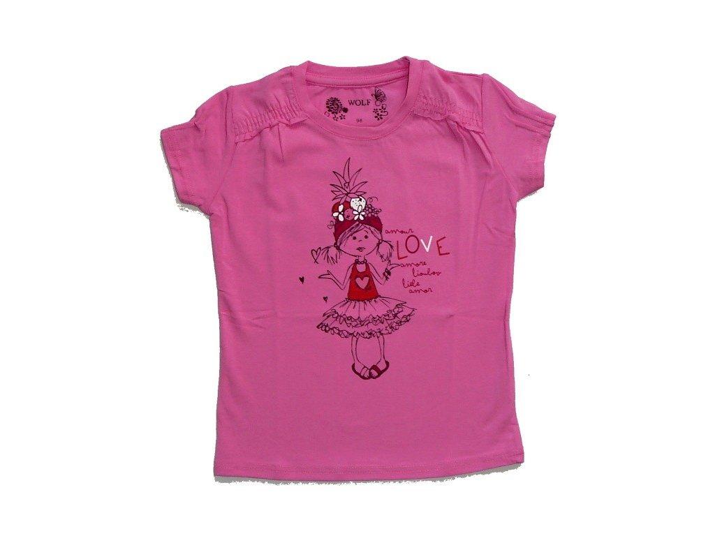 Dívčí růžové triko S 2411 WOLF 98
