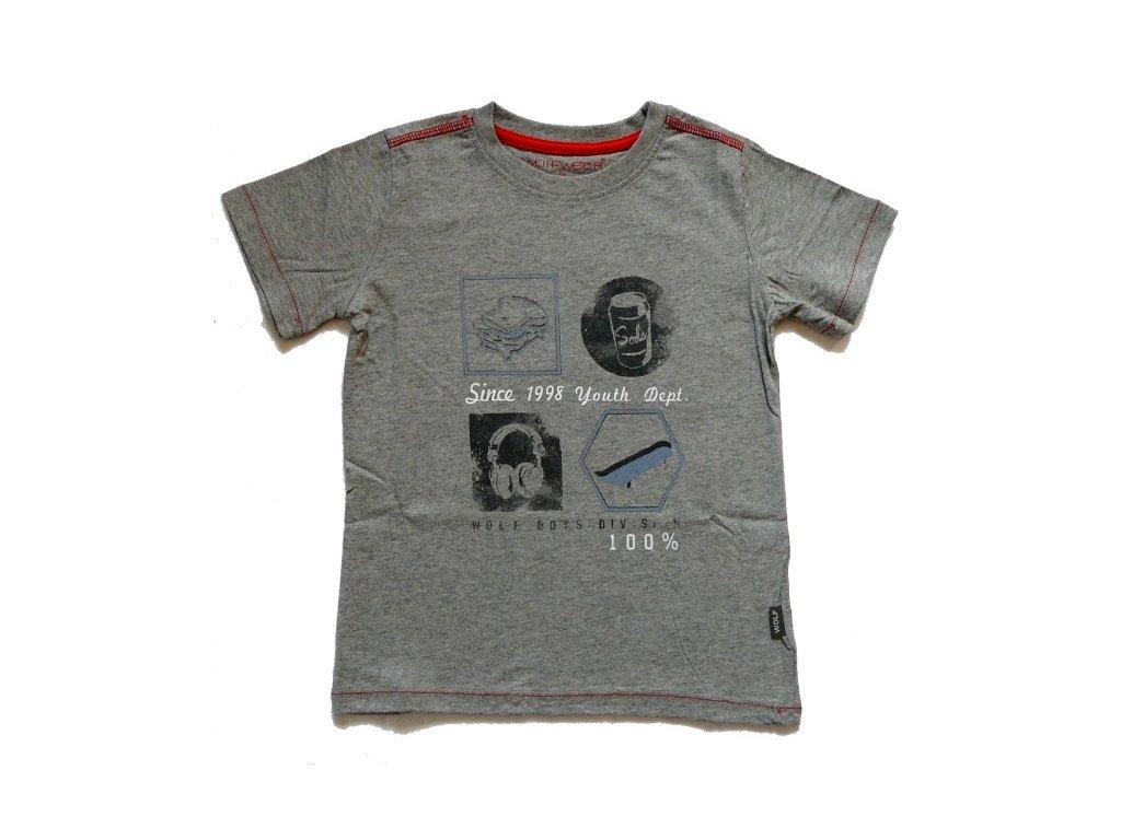 Chlapecké šedé tričko S2401 WOLF 98-104-110-116-122-128