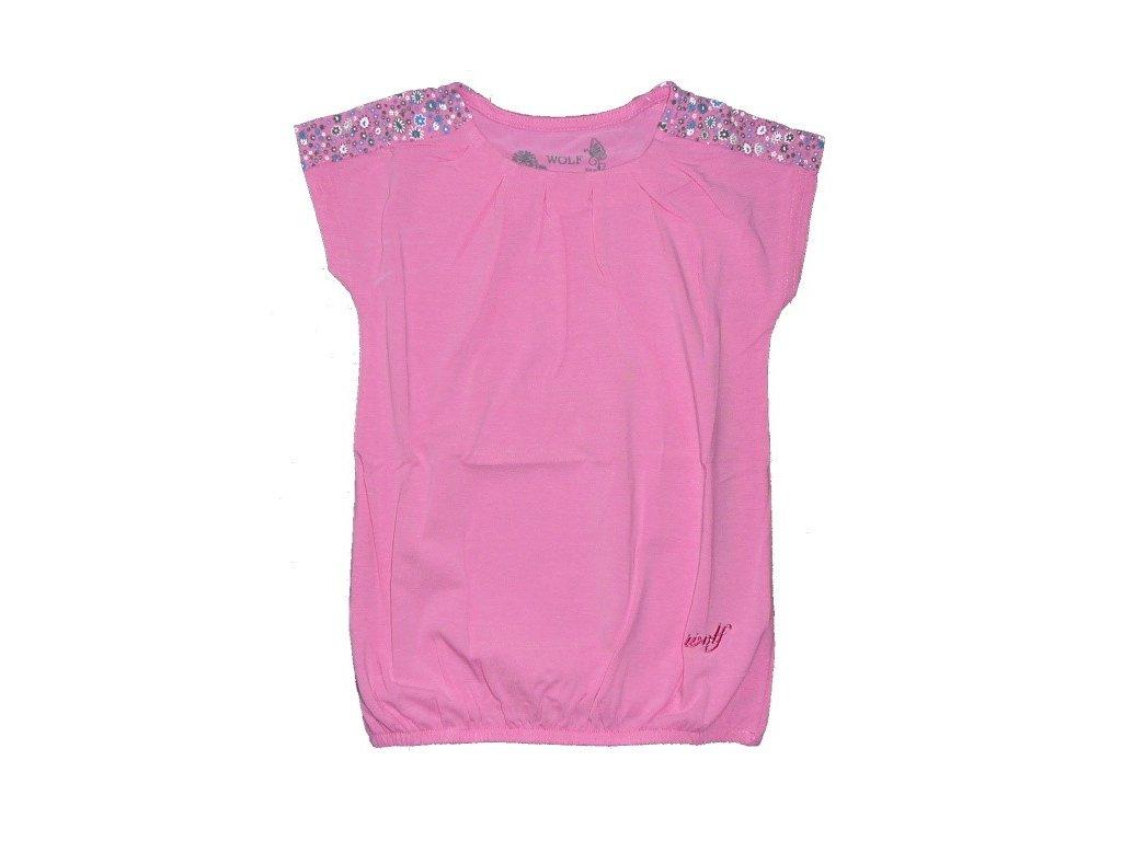 Dívčí růžové triko S2318 WOLF vel. 98, 104