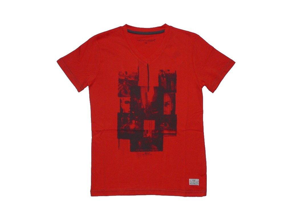 Chlapecké cihlově červené triko krátký rukáv WOLF 134-140-146-152-158-164