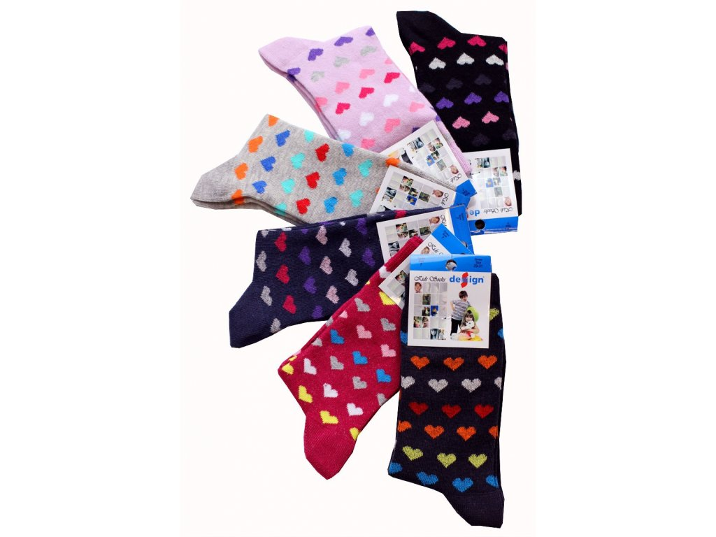Dětské ponožky se srdíčky vel. 35-37