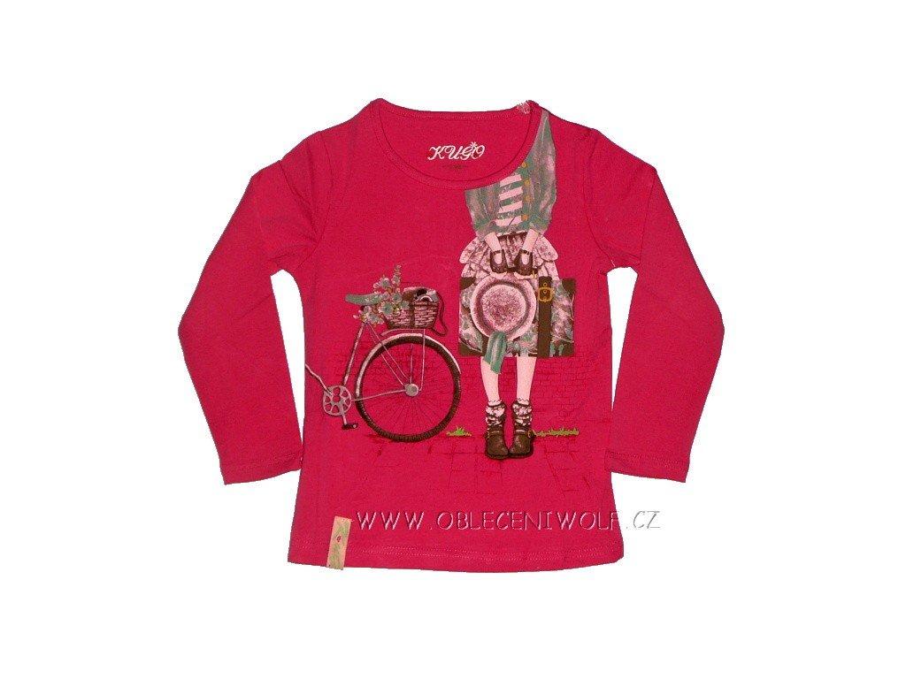 Dívčí tmavě růžové tričko vel. 128
