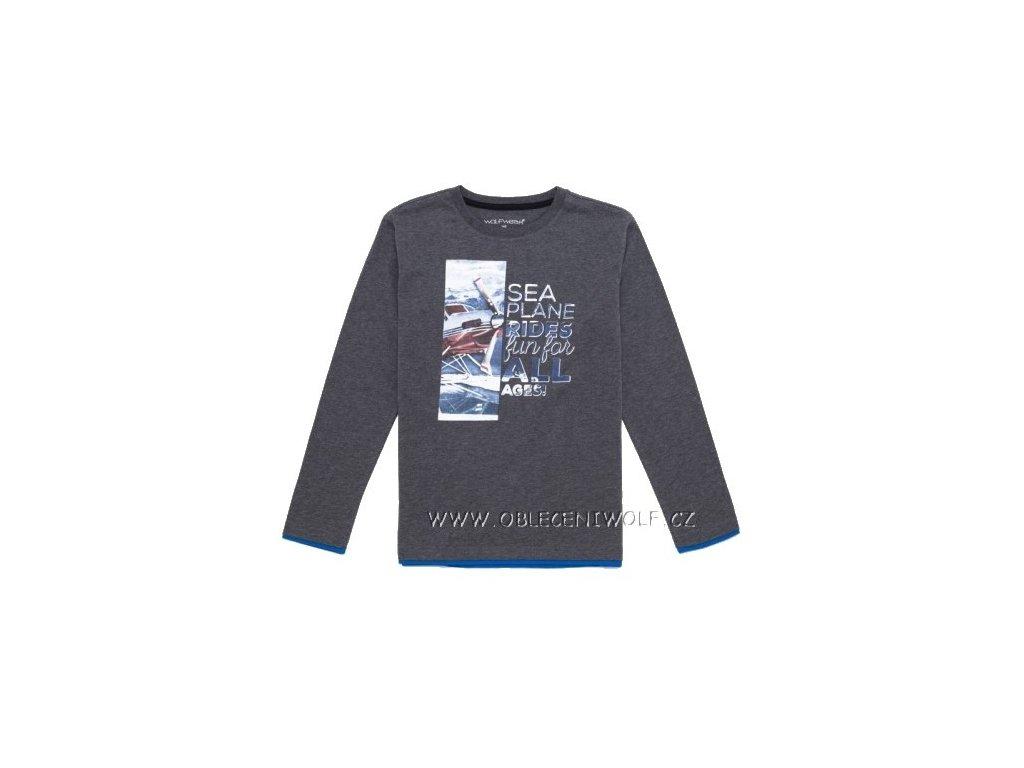 Chlapecké šedé tričko dlouhý rukáv vel. 116, 122