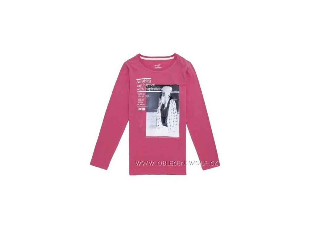 Dívčí růžové tričko dlouhý rukáv S2643 vel. 158,164