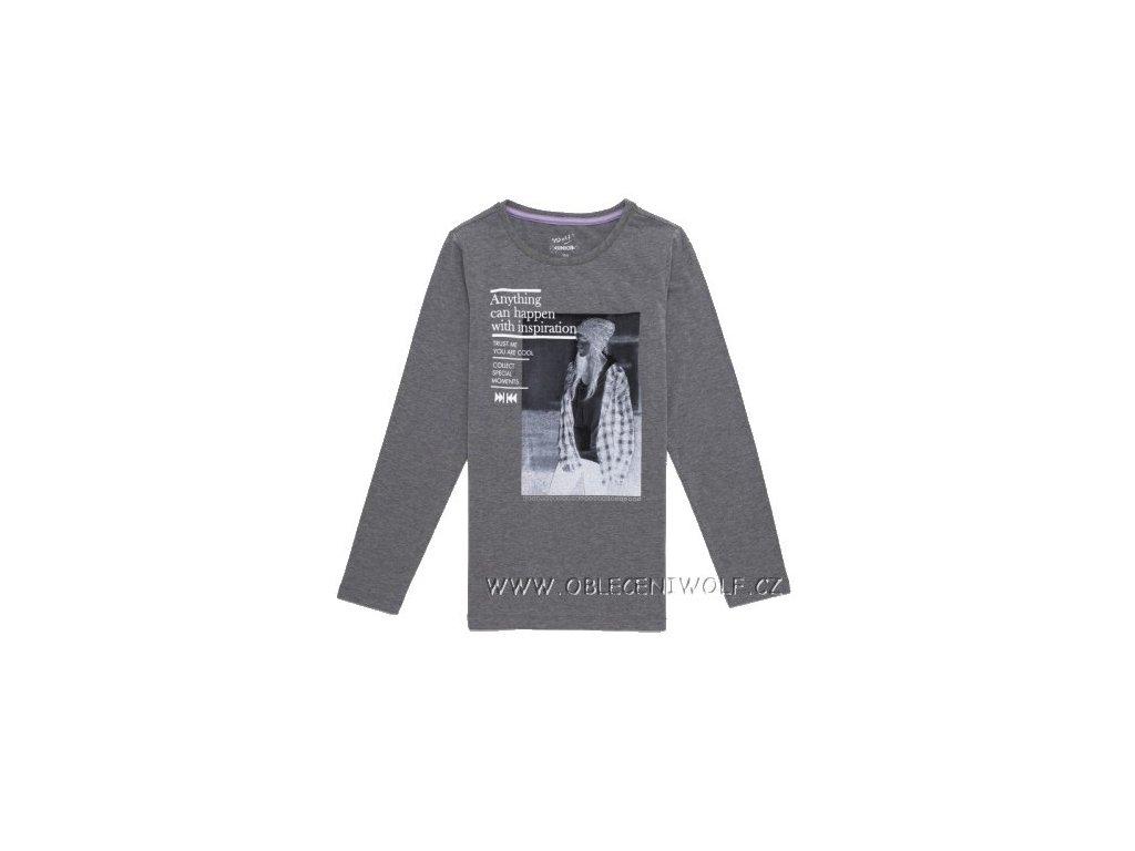 Dívčí šedé tričko dlouhý rukáv S2643 vel. 146, 158, 164