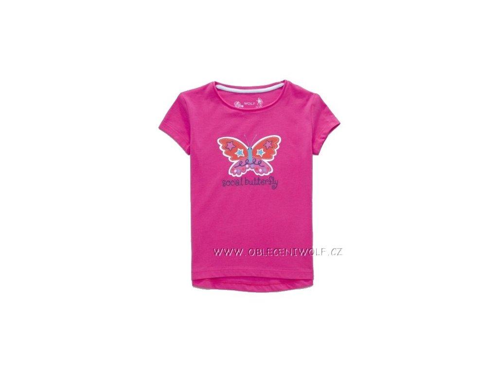 dívčí růžové tričko WOLF S2710 98-128