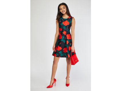 box pleated rose flower dress navy multi 111785 4