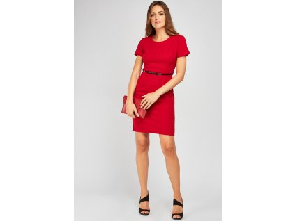 belted midi textured dress burgundy 119146 4