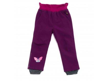 Dívčí zateplené softshellové kalhoty fialové Wolf B2991 vel. 86-110