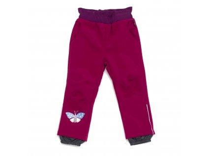 Dívčí zateplené softshellové kalhoty růžové Wolf B2991 vel. 86-110