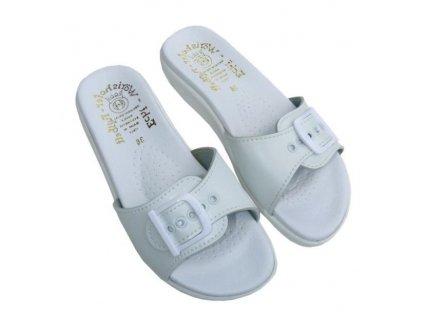 Dámské pantofle Fusbet bílé - jednopáskové