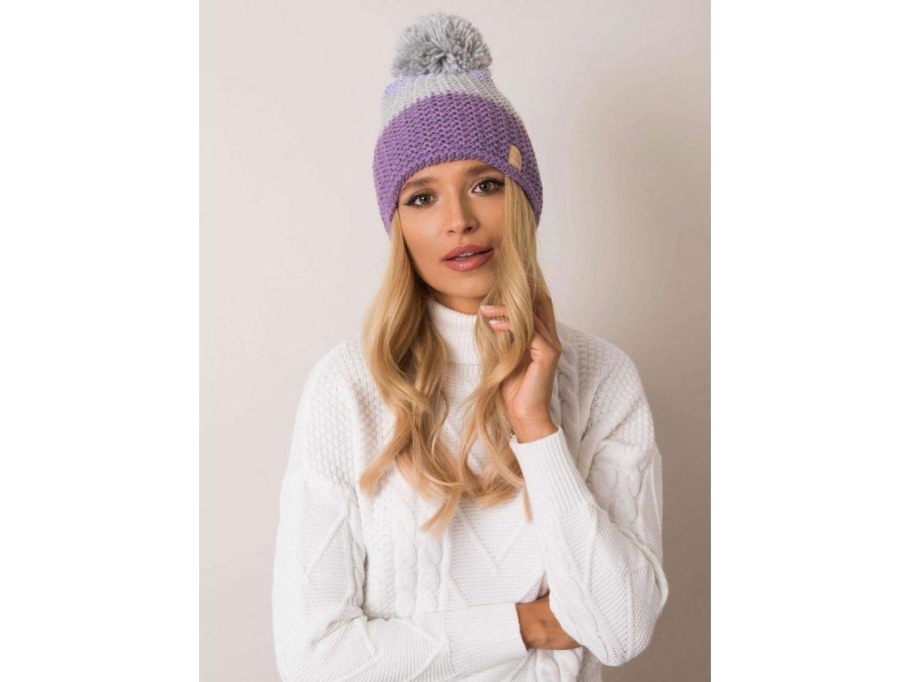 pol pl Fioletowo szara czapka zimowa RUE PARIS 354395 1