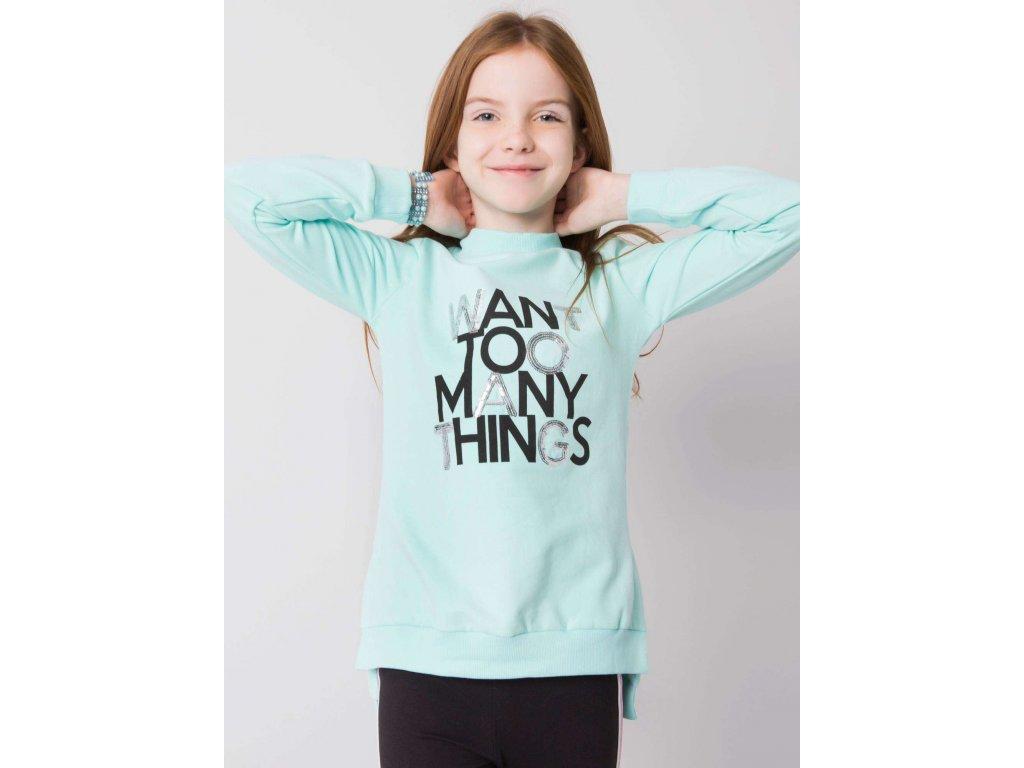 pol pl Mietowa bluza dla dziewczynki z lampasami 359143 1