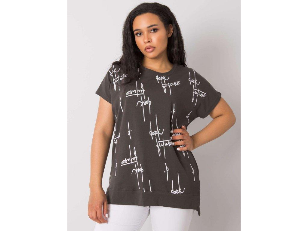 pol pl Ciemna khaki bluzka plus size z bawelny Claribel 366514 2