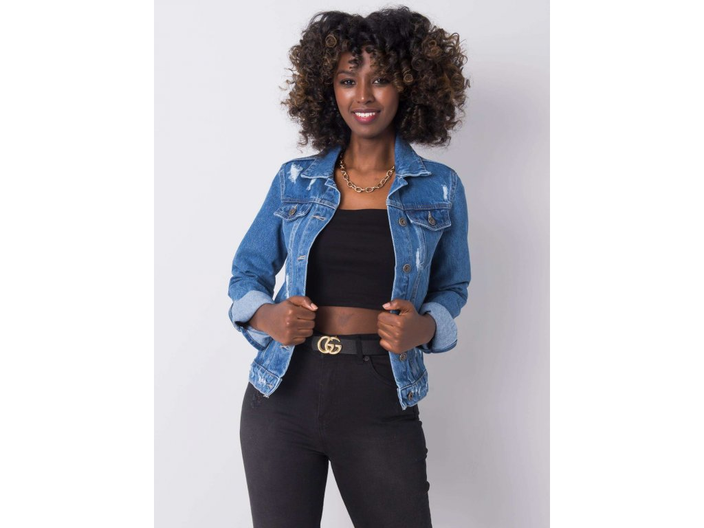 pol pl Ciemnoniebieska kurtka jeansowa z przetarciami Raquel RUE PARIS 361916 1