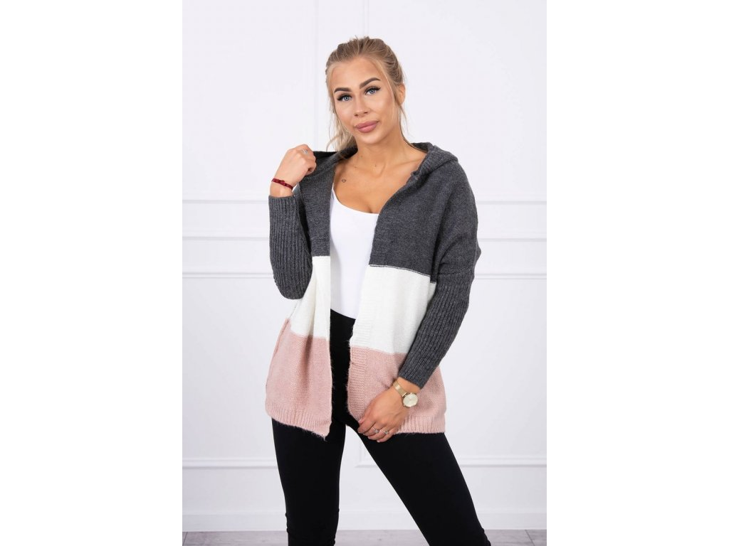eng pl Three color hooded sweater graphite ecru powdered pink 15630 3
