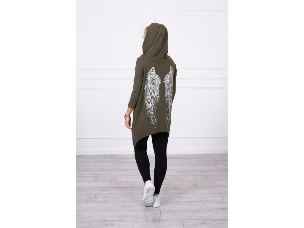 eng pl Sweatshirt with a print of wings khaki 18460 5