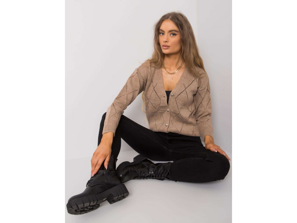 pol pl Ciemnobezowy sweter rozpinany Elisabete RUE PARIS 377236 1
