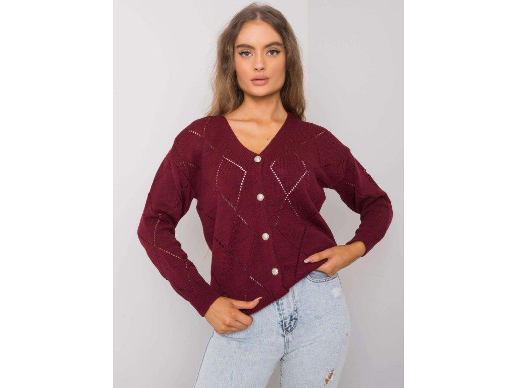 pol pl Bordowy sweter rozpinany Elisabete RUE PARIS 377199 1