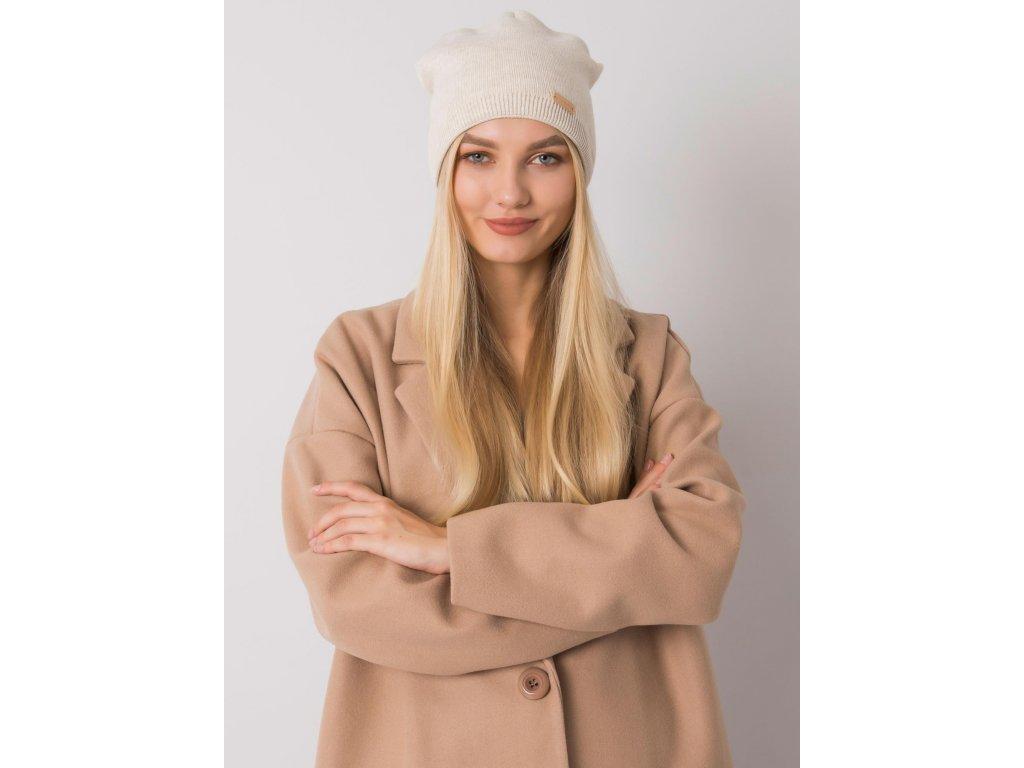 pol pl Bezowa melanzowa czapka typu beanie RUE PARIS 379083 1