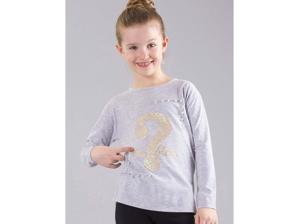 pol pl Szara bluzka dziewczeca z aplikacja i perelkami 303488 8