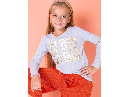 pol pl Jasnoszara bawelniana bluzka dziewczeca z napisem PARIS 264565 5