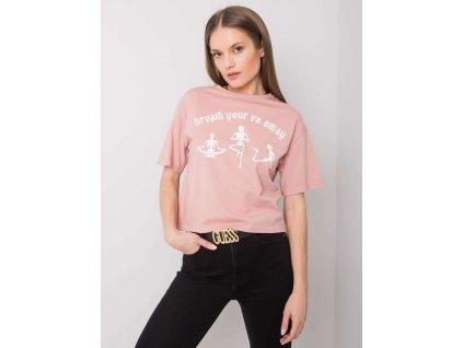 pol pl Brudnorozowy t shirt z nadrukiem Piper RUE PARIS 360836 1