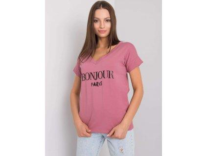 pol pl Brudnorozowy t shirt z napisem Emille 367647 1