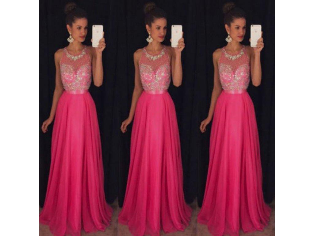 11423f388de Dlouhé královské plesové šaty - růžové - OBLECSITO.CZ