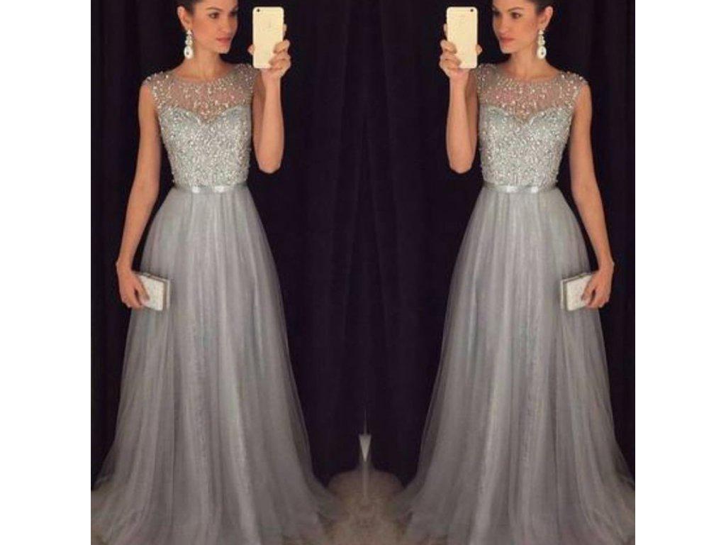 a082789472c Dlouhé královské plesové šaty - šedé - OBLECSITO.CZ