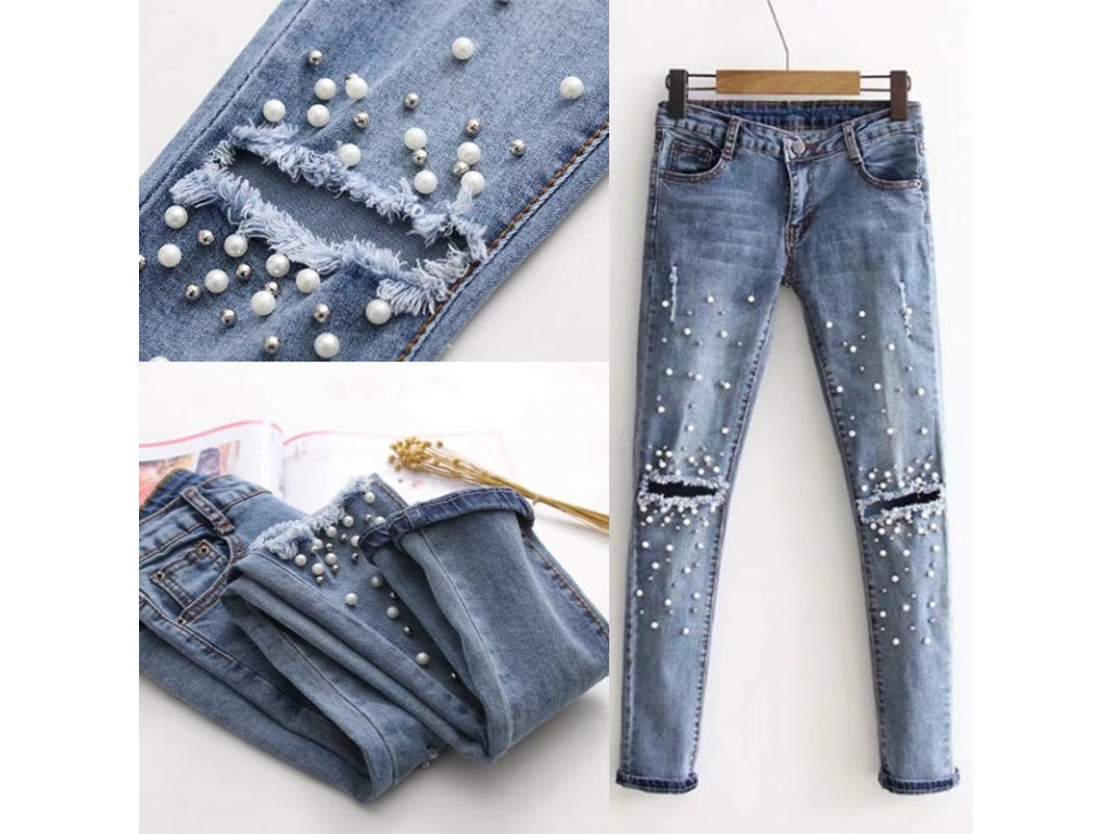 ad6bacdd312d Dámské trhané slim džíny s perlami - OBLECSITO.CZ