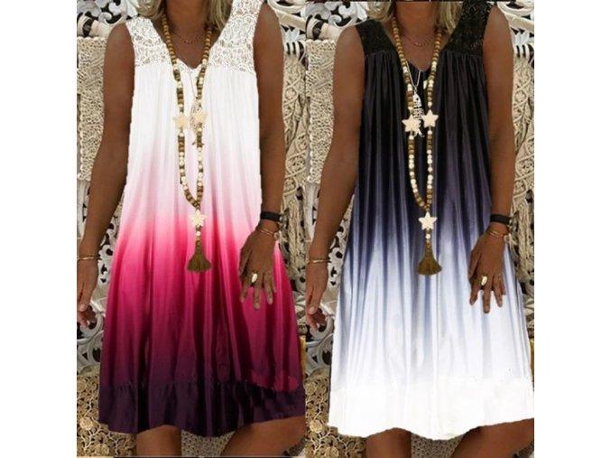 Krásné ombré šaty se zdobenými ramínky - až 5XL