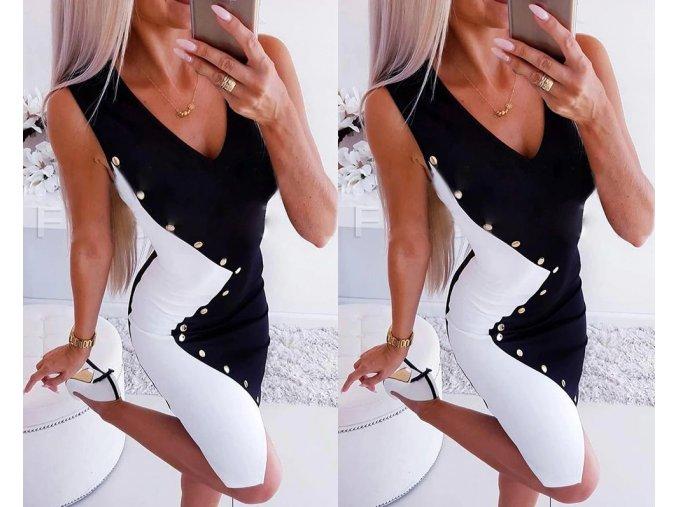 Dámské luxusní upnuté černobílé šaty zdobené cvočky