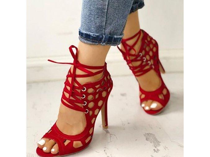 Dámské sexy sandály na podpatku se šněrováním v černé a červené barvě
