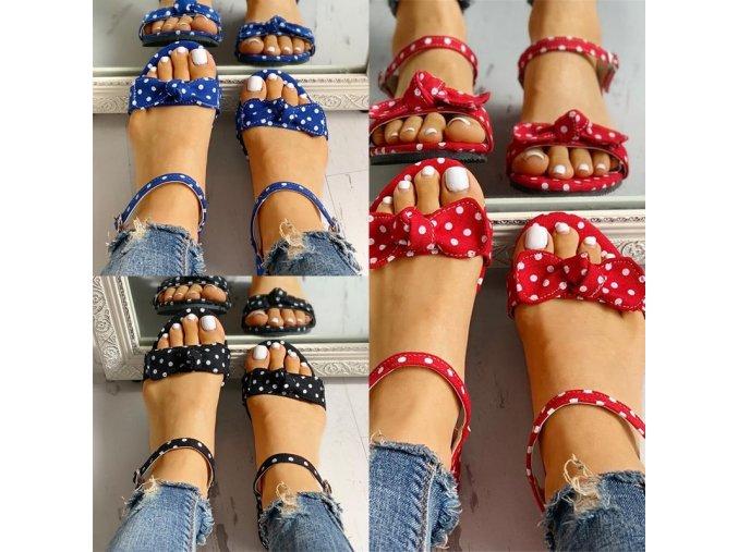 NEW - Dámské letní puntíkové pantofle s mašlí ve třech barvách