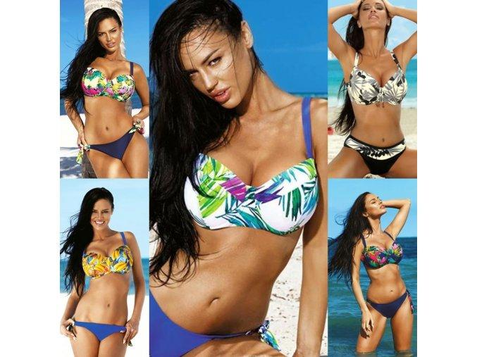 Sexy push up dvoudílné plavky s krásnými letními vzory