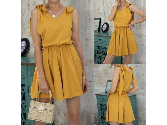 Dámské letní žluté šaty s ramínky na zavazování z příjemného materiálu