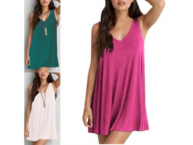 Dámské letní jednobarevné vzdušné šaty - až6XL