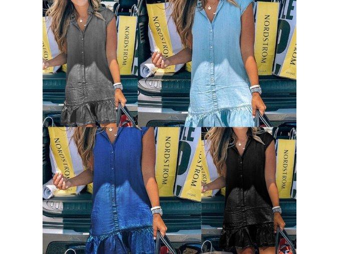 Dámská letní šaty v džínovém stylu s volánkem - až 3XL
