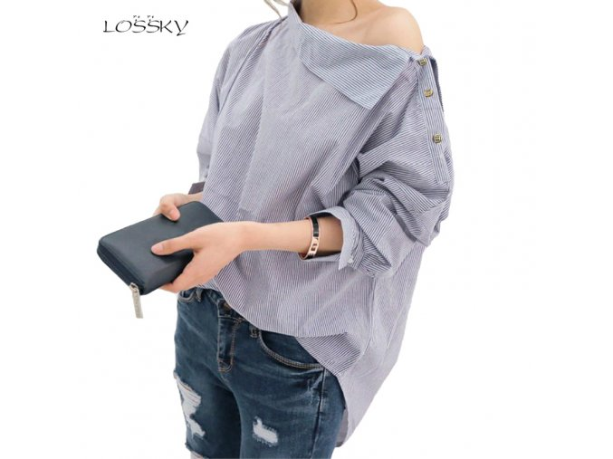 Autumn Women s Striped Sexy Oblique Strapless Loose Long sleeved Collar Hedging Bat Sleeve Blouse Shirts