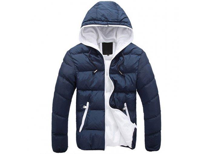 Pánská lehká zimní bunda modro-bílá s kapucí