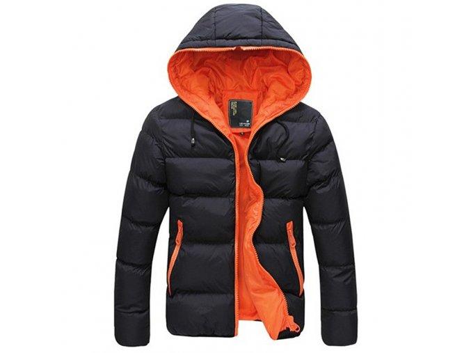 Pánská lehká zimní bunda černo-oranžová s kapucí