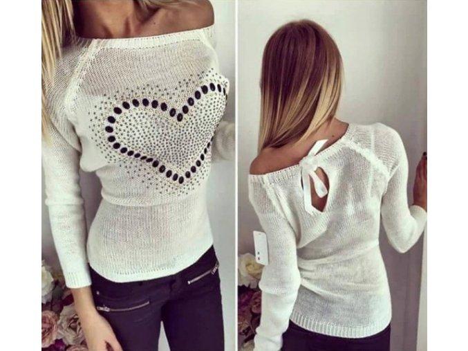 Dámský podzimní svetr se srdcem